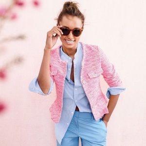 J. Crew Neon Pink Tweed Peplum Blazer